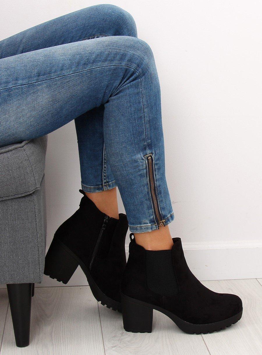 BOTKI DAMSKIE NA SZEROKIM OBCASIE czarne buty