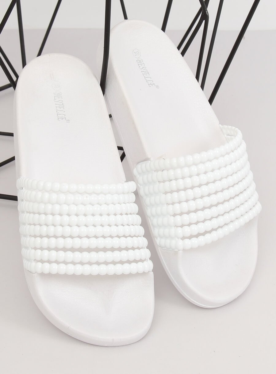 Klapki z koralikami białe G301 WHITE   Sklep