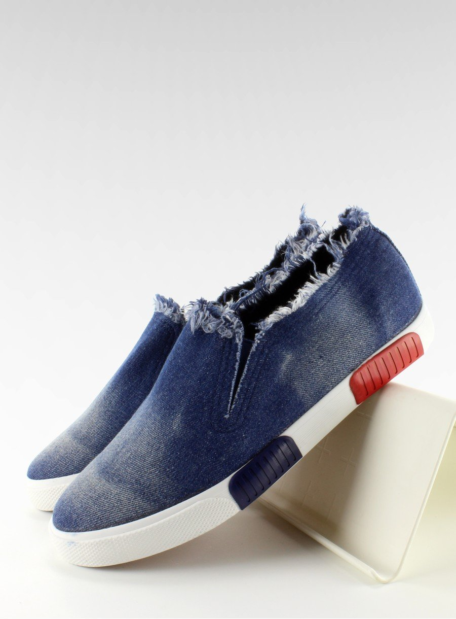 Trampki jeans kolorowa podeszwa BL65 Navy | Sklep
