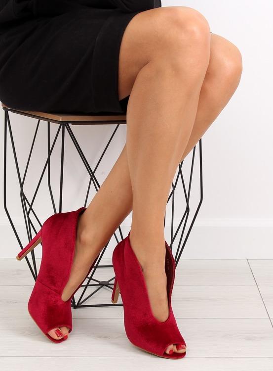 Aksamitne czółenka botki 8751 Red