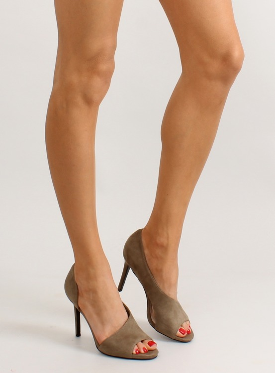 Asymetryczne szpilki open toe C70P Olive