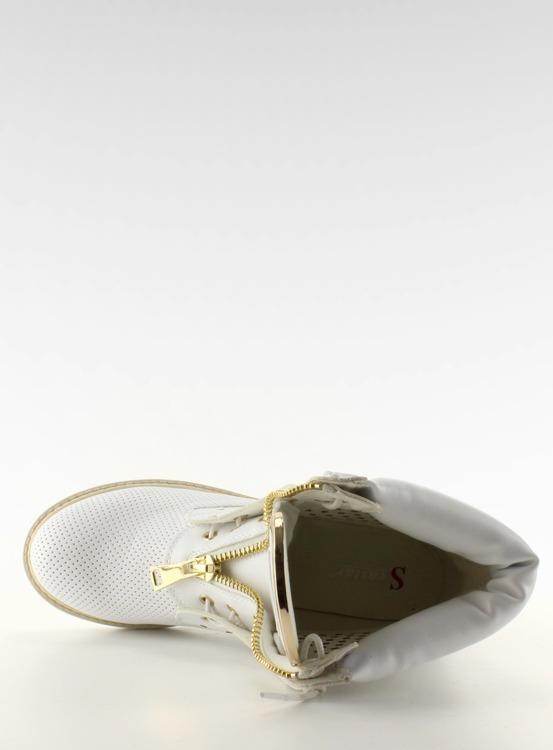Ażurowe balmanki złoty suwak białe R103 White