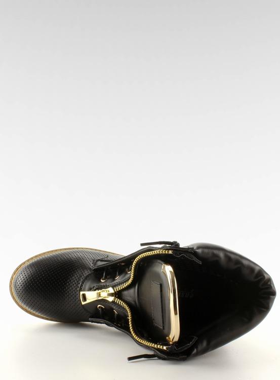Ażurowe balmanki złoty suwak czarne R103 Black