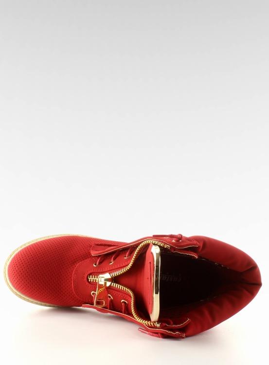Ażurowe balmanki złoty suwak czerwone R103 Red
