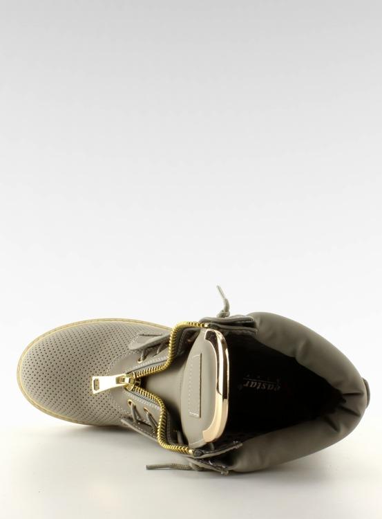 Ażurowe balmanki złoty suwak szare R103 Grey