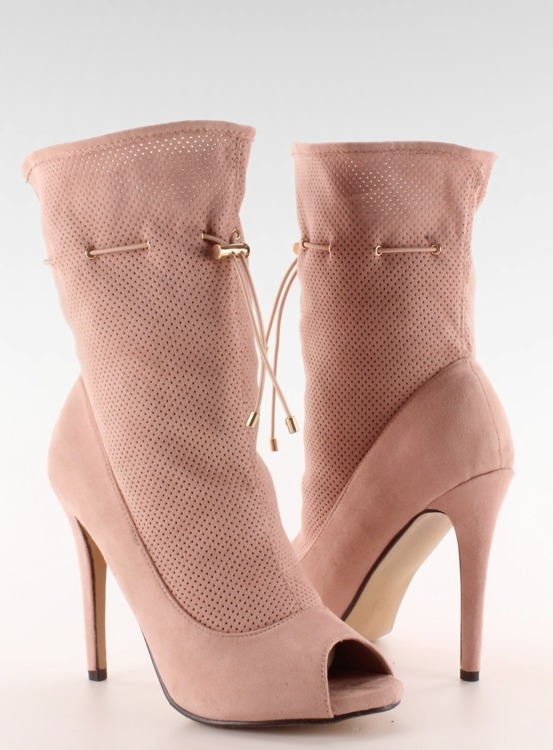 Ażurowe botki open toe SY15 Pink