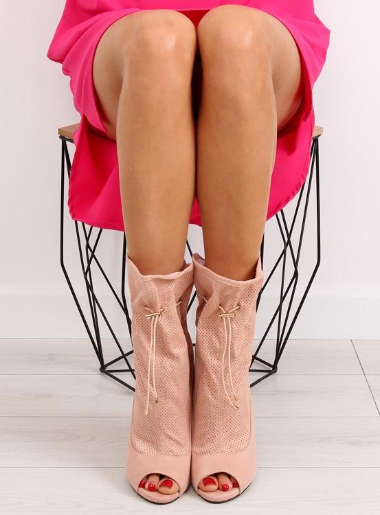 Ażurowe botki open toe różowe SY15 Pink