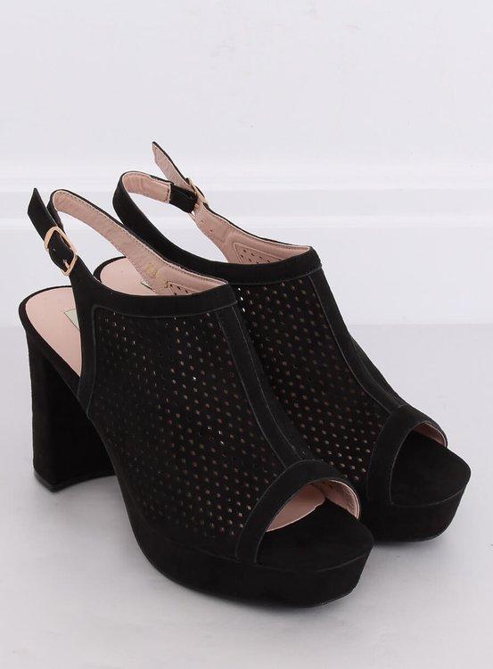 Ażurowe sandałki na obcasie czarne 9R82 BLACK