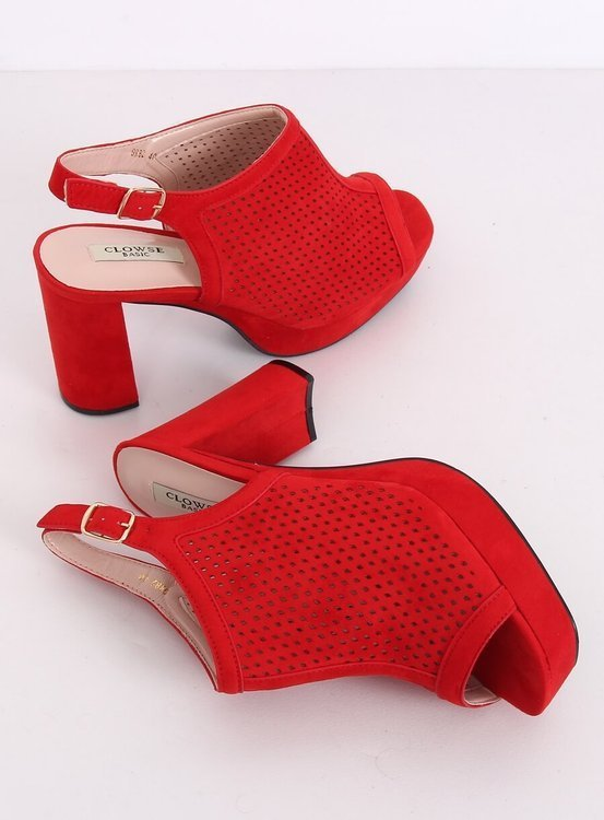 Ażurowe sandałki na obcasie czerwone 9R82 RED