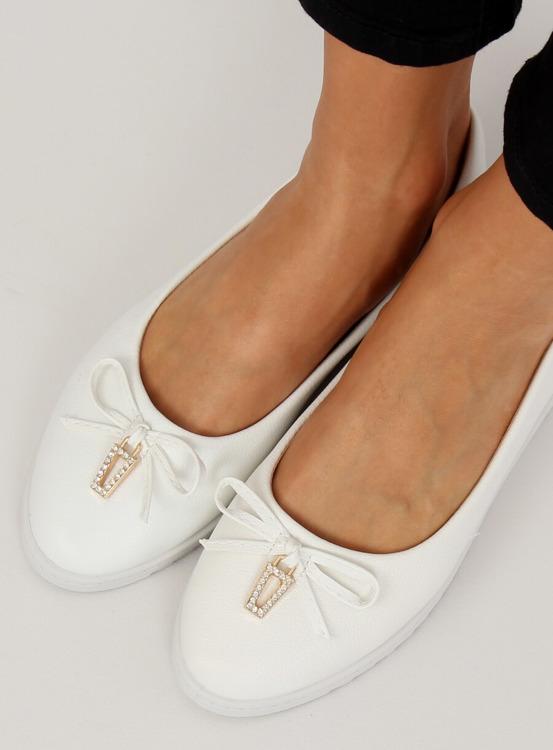 Balerinki damskie białe YSD-04 WHITE