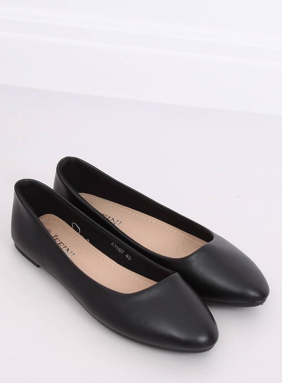 Balerinki gładkie licowe czarne Z1007 BLACK