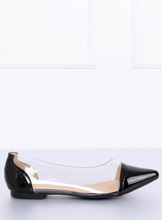 Balerinki transparentne czarne N18-292 BLACK