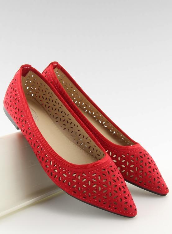 Baleriny ażurowe czerwone 127-25 RED