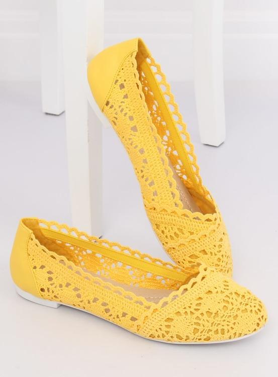 Baleriny ażurowe żółte 4701 YELLOW