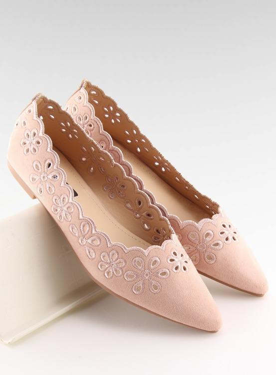 Baleriny z ażurowym wzorem różowe IT-29 PINK