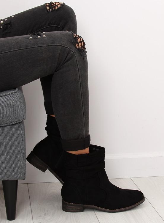 Botki damskie czarne 99-135 BLACK