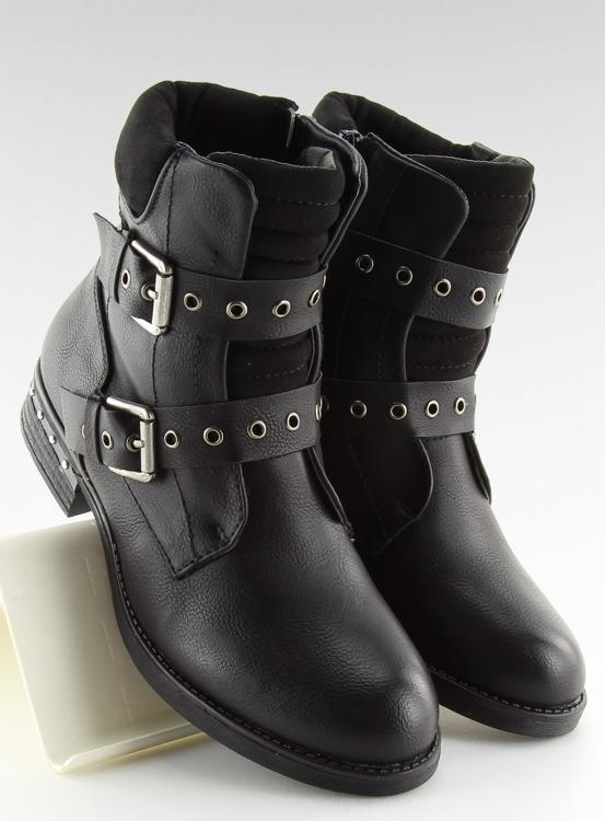 Botki damskie czarne S165 BLACK