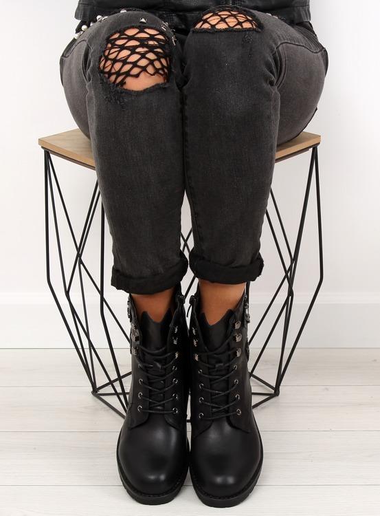 Botki damskie glany czarne H950 BLACK