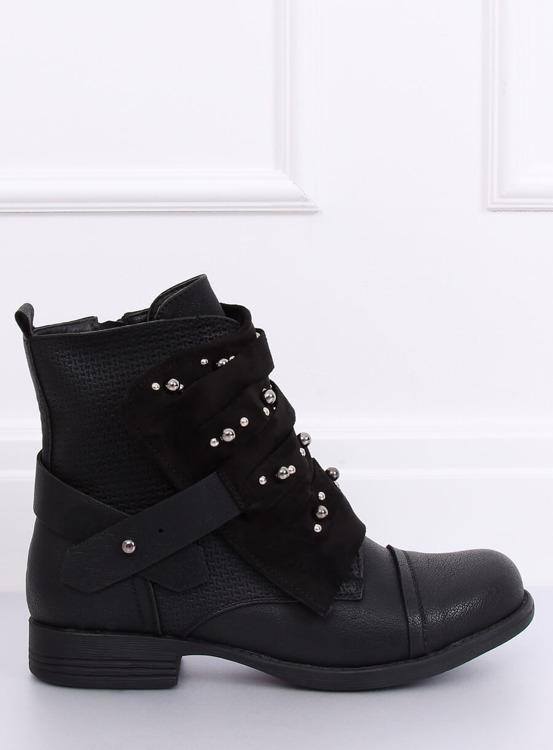 Botki damskie militarne czarne 836-PA BLACK
