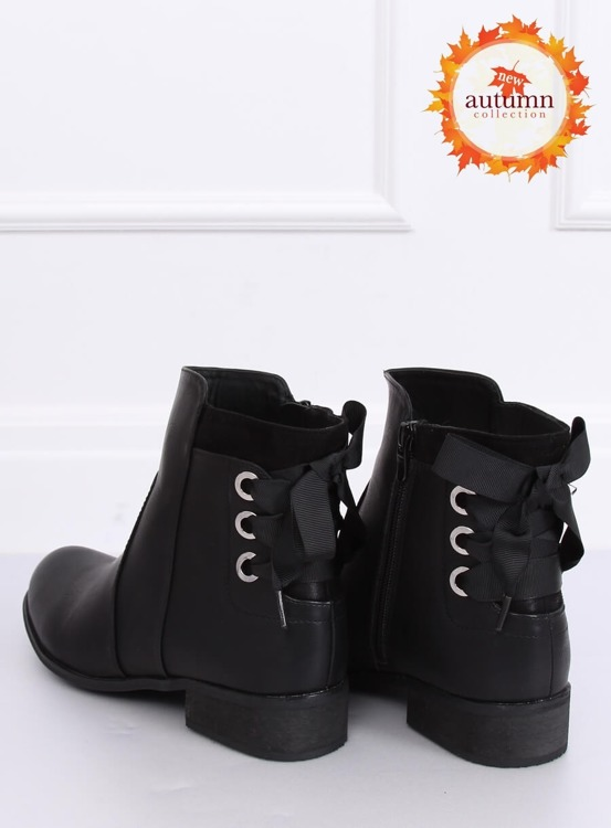 Botki damskie płaskie czarne 1184-PA BLACK