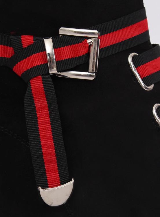 Botki damskie płaskie czarne 1706 BLACK