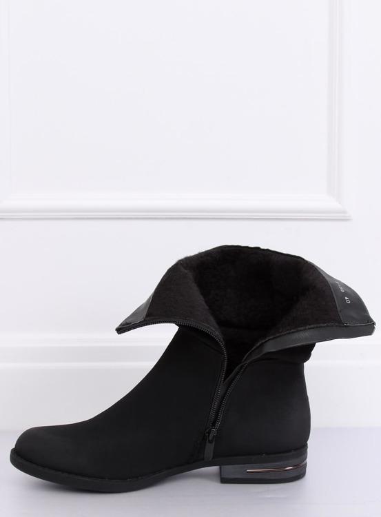 Botki damskie płaskie czarne 5139 BLACK