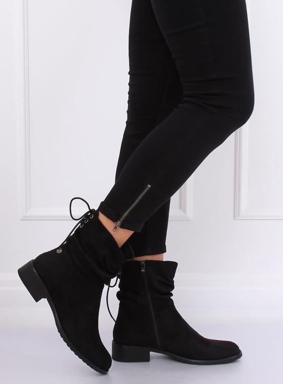 Botki damskie płaskie czarne B-09 BLACK