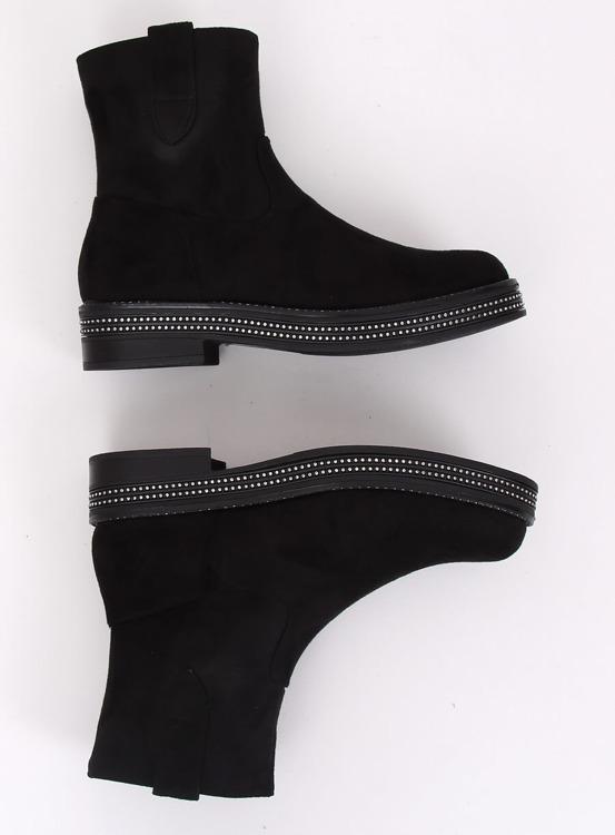 Botki damskie płaskie czarne CH1812-2 BLACK