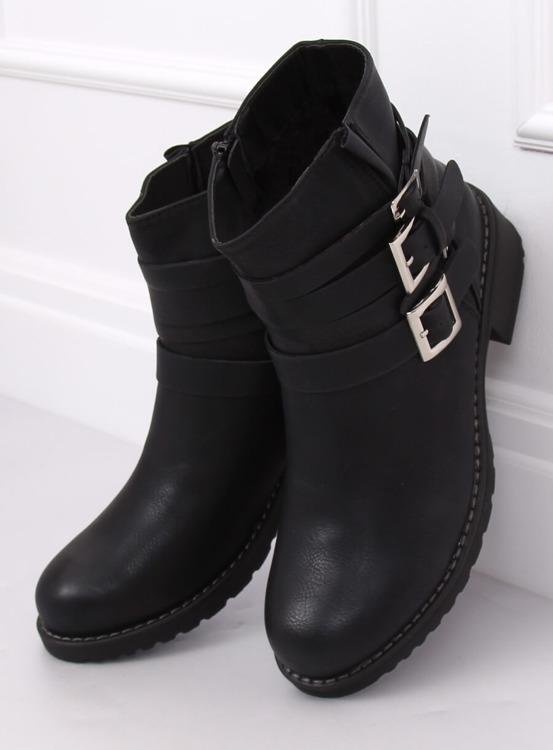 Botki damskie płaskie czarne Z100 BLACK