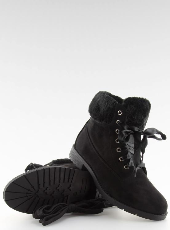 Botki damskie sznurowane czarne NC87  BLACK