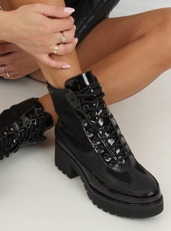 Botki damskie sznurowane czarne NS086 BLACK