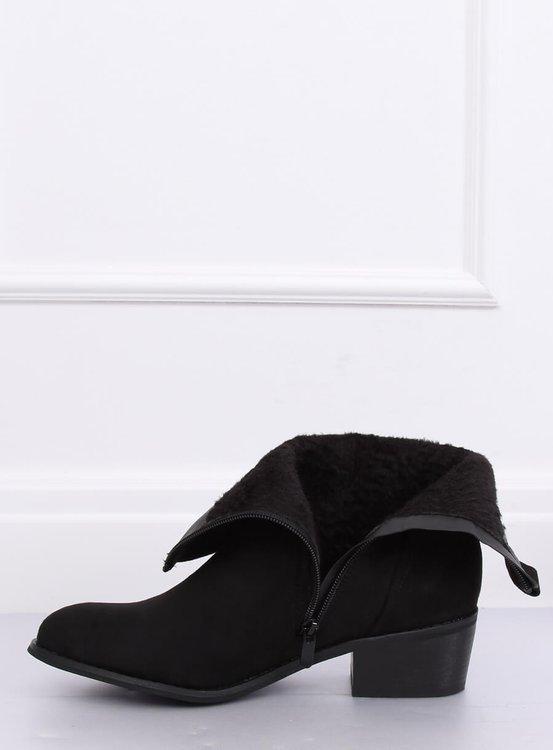 Botki damskie zamszowe czarne 3893 BLACK