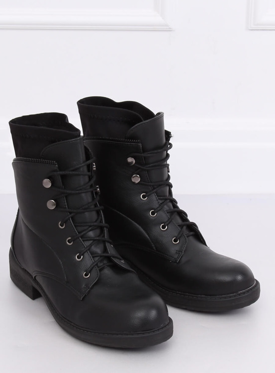 Botki glany damskie czarne 100-901B0-1 BLACK