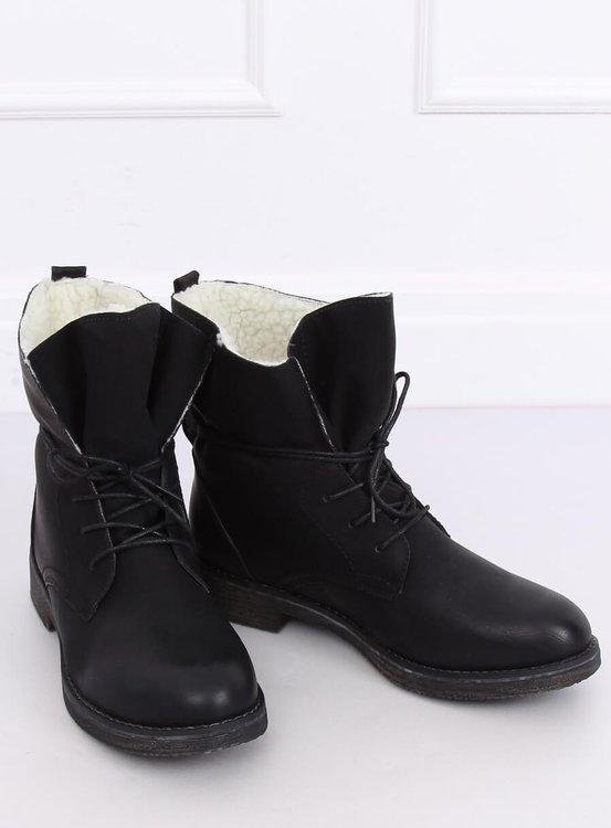 Botki na kożuszku czarne 758-PA BLACK