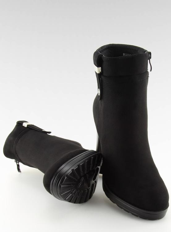 Botki na obcasie czarne BK3233 BLACK