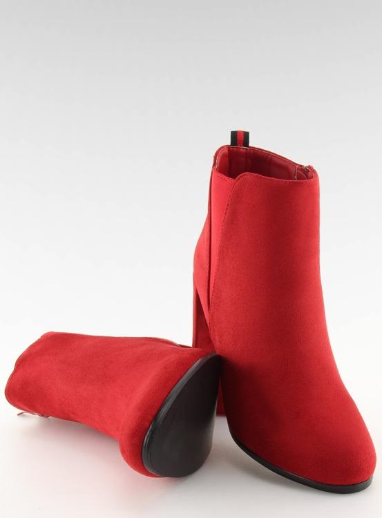 Botki na obcasie czerwone A5580 RED