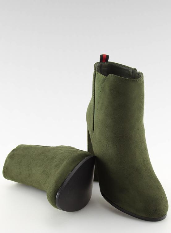 Botki na obcasie zielone A5580 OLIVE