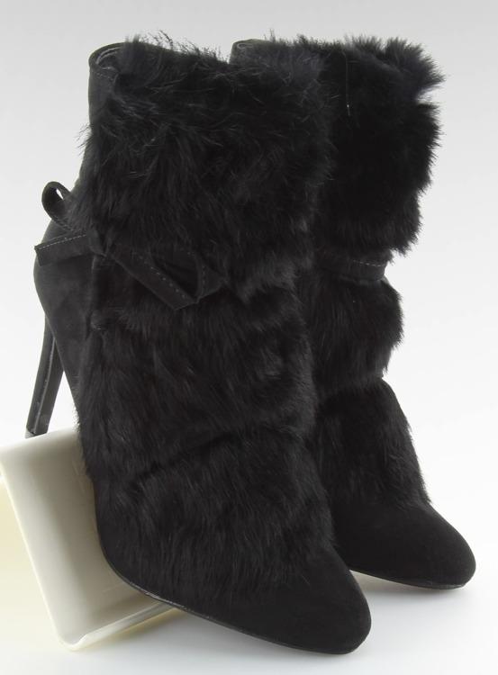 Botki na szpilce z futrem czarne 1319 BLACK
