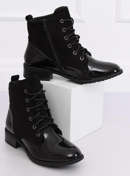 Botki sznurowane czarne B0-227 BLACK