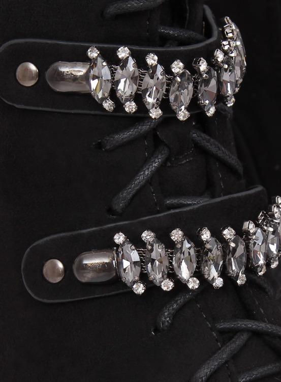 Botki sznurowane czarne H8-118 BLACK