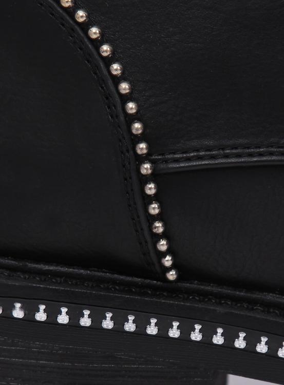 Botki sznurowane damskie czarne C137 BLACK