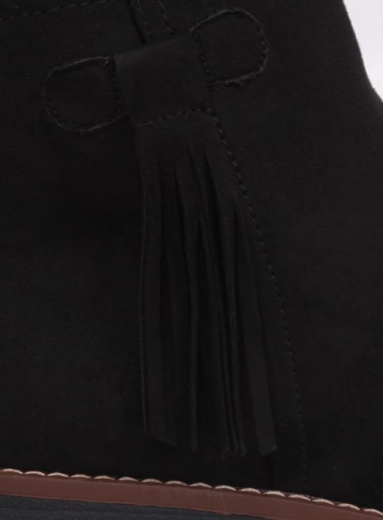 Botki sztyblety z frędzlami czarne 8B907 BLACK