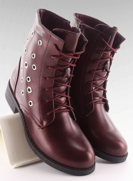Botki workery licowe pe130p WINE RED