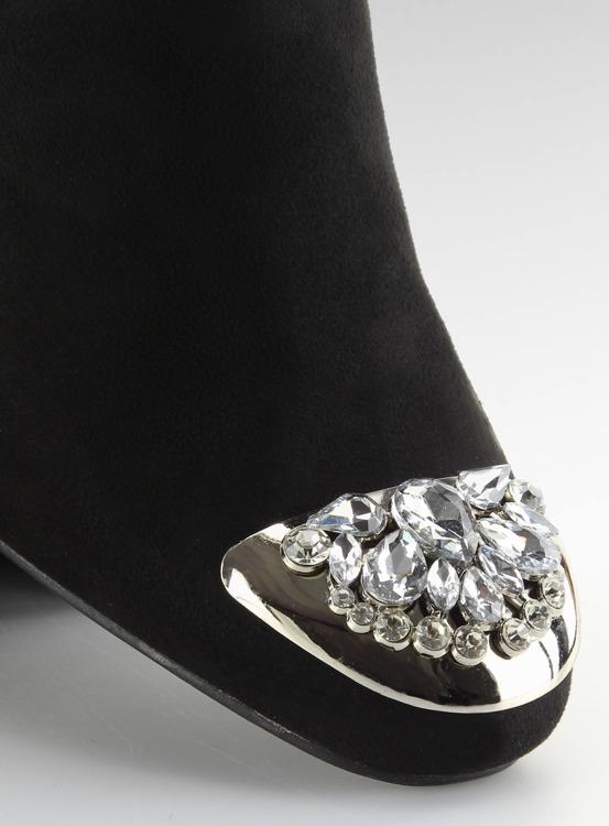 Botki z kamieniami na noskach czarne fa156 BLACK