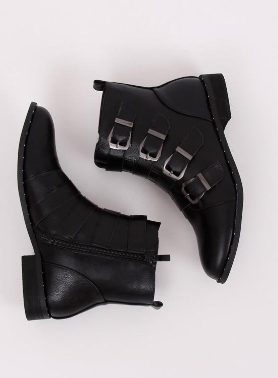 Botki z klamerkami czarne 688-57 BLACK