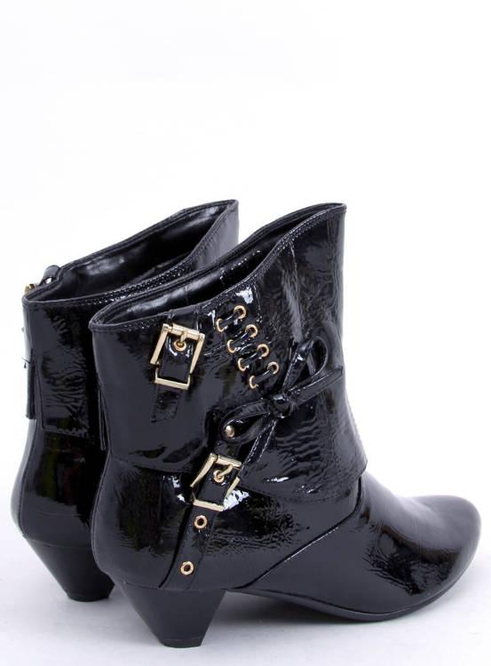 Botki z kokardką  5196-3V NOIR czarne-lak