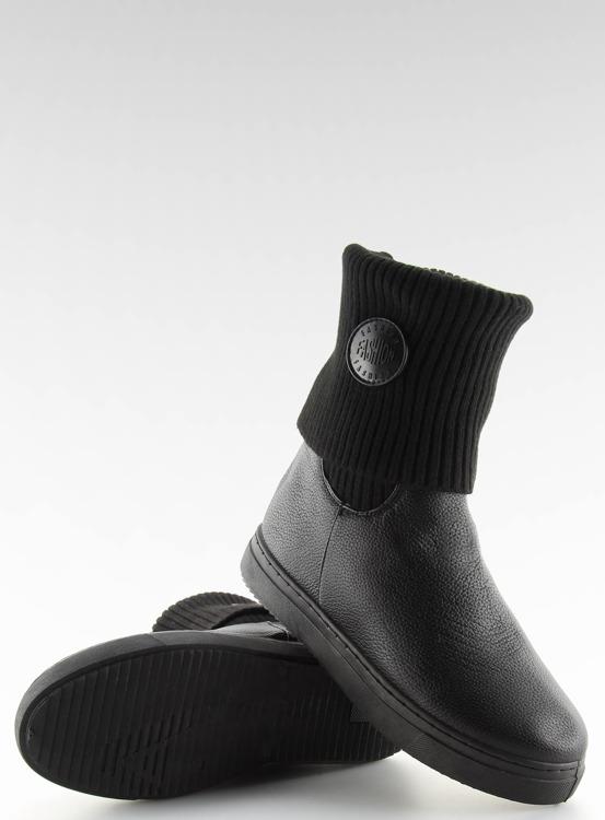 Botki z wełnianą cholewką czarne NB30 BLACK