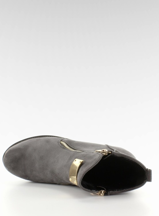 Botki zamszowe ze złotą blaszką szare GG-32 Grey