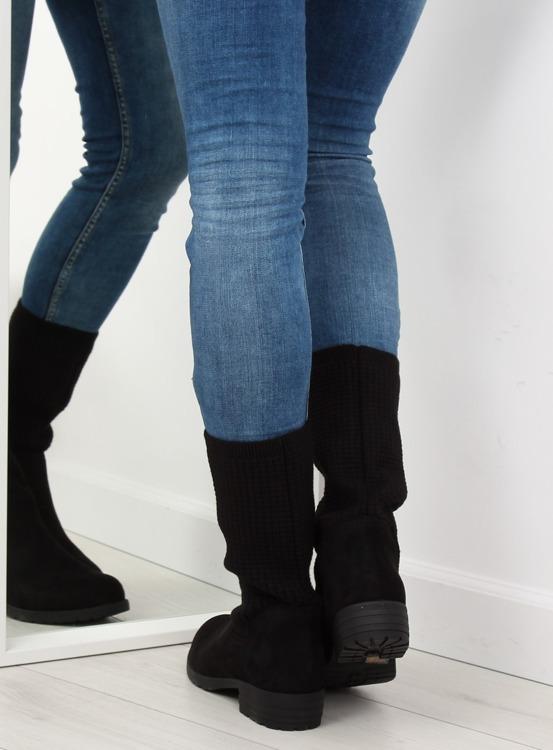Botki ze swetrową cholewką czarne ZH757 BLACK
