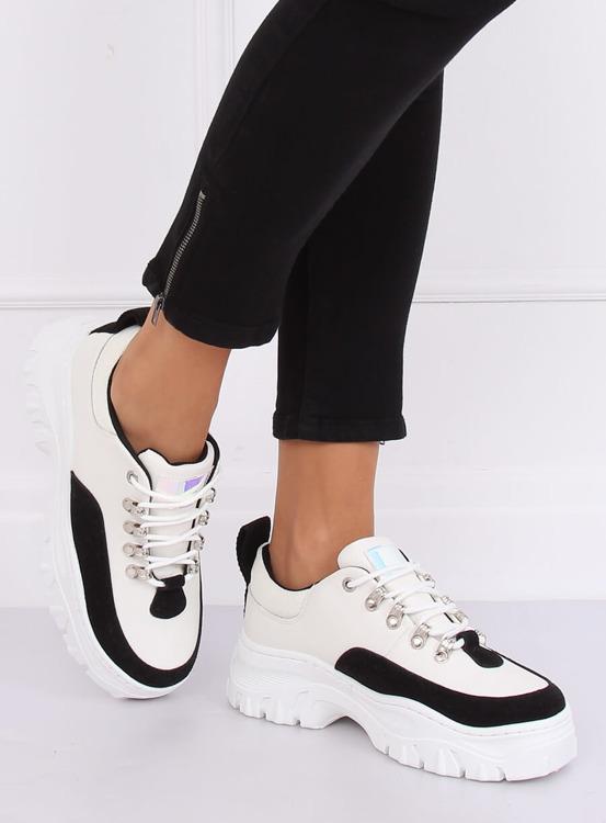 Buty na wysokiej podeszwie biało-czarne PF5329 BLACK